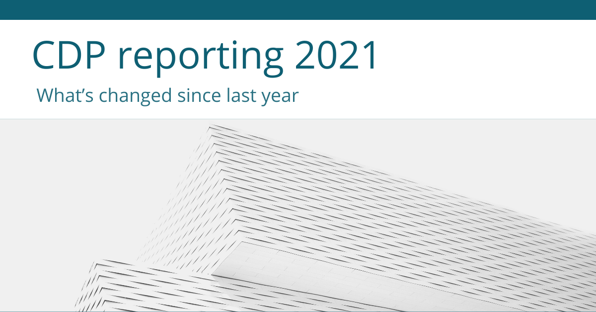 CDP reporting 2021 – what's changed since last year