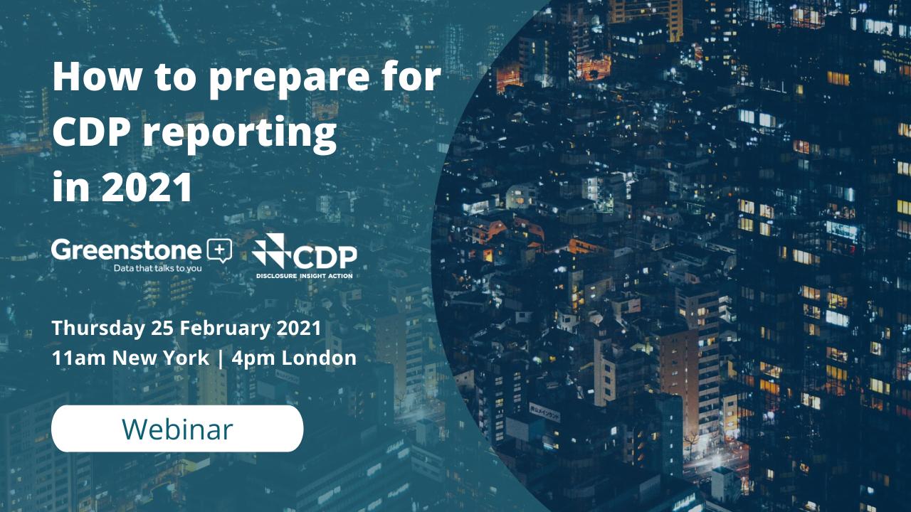 Greenstone Webinar - Prepare for CDP reporting in 2021